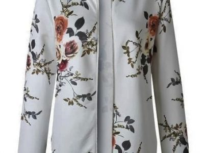 Floral Print Zipper Casual Jacket Women